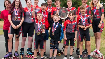 Wisbech Inline Speed Skaters at the Outdoor British Championships. Team photo: Back row l-r: Jo Tidm