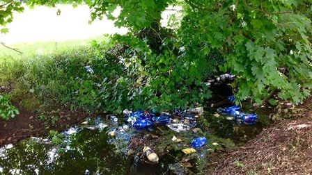 Rubbish dumped in the stream in the fields around Wisbech Rugby Club PHOTO: Lindsay Kierman