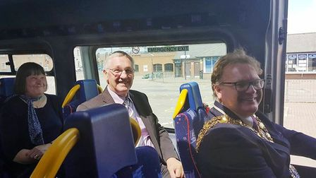 The mayor Steve Tierney and Cabinet member Will Sutton on board the new Tesco bus service in Wisbech