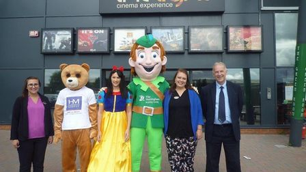 Kirstie Chapman from The Light Cinema in Wisbech, the Harrison Murray bear, Carrie-Anne Johnson from