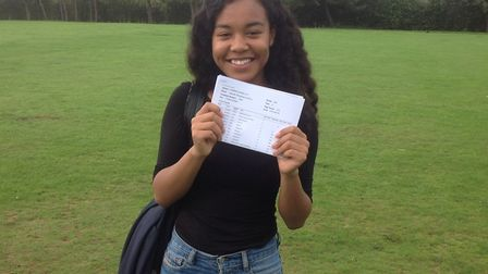 Top achiever Hannah Imafidon with her results at Stanborough Scool in Welwyn Garden City.