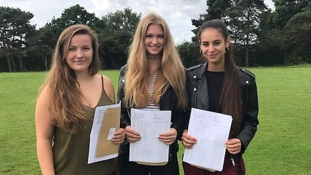 Caitlin Watts, Louise Stokes and Tatiana Lwin after collecting their results from Stanborough Scool