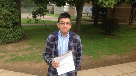 Tawsif Choudhury after picking up his results from Stanborough Scool in Welwyn Garden City.