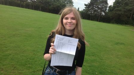 Louise Knight after picking up her results from Stanborough Scool in Welwyn Garden City.