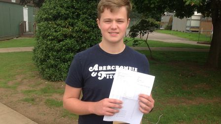 Alex Baxter after picking up his results fromStanborough Scool in Welwyn Garden City.