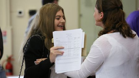 Pupils at Sir Frederic Osborn School collect their GCSE results. Picture: Danny Loo