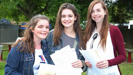 Monk's Walk School pupils Rochelle Mawby, Victoria Mileson and Emily McGachen with their GCSE result