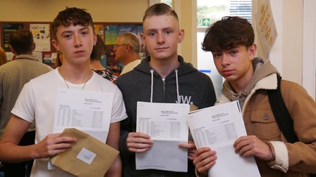 Monk's Walk School pupils Ryan Dyas, Nick Harper and Nicholas Lawrence and their GCSE results. Pictu