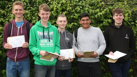 Monk's Walk School pupils with their GCSE results. Picture: Danny Loo