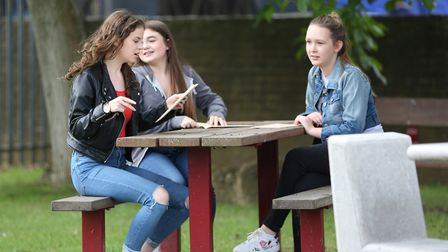 Pupils at Monk's Walk School collect their GCSE results. Picture: Danny Loo