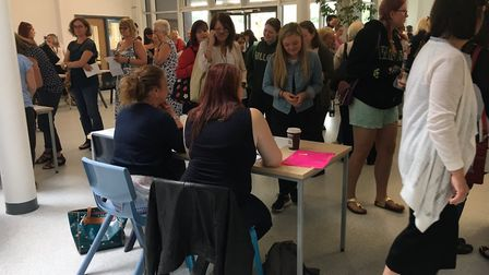 The busy hall where the pupils received their results