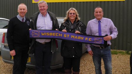 Wisbech St Mary secretary, Martin Holmes, chairman, Ian Rawlings and Sue and Alan Carr of ABC Qualit