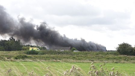 Barn fire today on A47 near Wisbech - fire crews at the scene