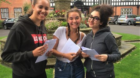 Queenswood pupils picking up their A-level results from Brookmans Park this morning.