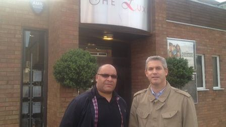 Burleigh Ibbott and NE Cambs MP, Steve Barclay, outside The Luxe cinema in Wisbech.