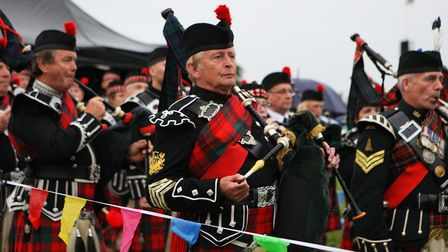 The pipe band at The Great British Prom 2017 at Knebworth