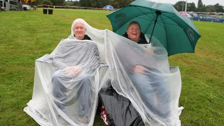 The Great British Prom 2017: Charles and Theresa Ward wrap up from the rain to enjoy the concert.