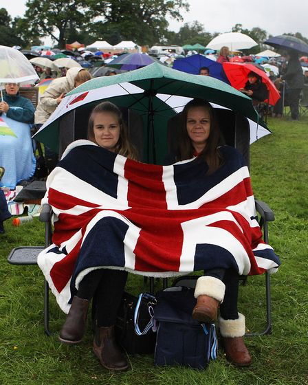 The Great British Prom 2017: Victoria and Helen Lomax keep warm whilst enjoying the concert.