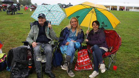 The Great British Prom 2017: Michael, Kate and Clair shelter from the rain.