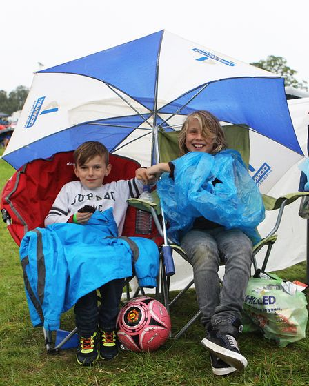 The Great British Prom 2017: William and Tiernan shelter from the rain.