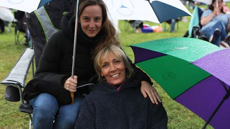The Great British Prom 2017: Jan and Eleanor Inglis keep dry whilst enjoying the concert.