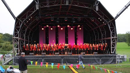 The Great British Prom 2017: Choir City Chorus on stage at Knebworth