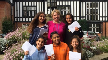 Queenswood pupils with their results in Brookmans Park.
