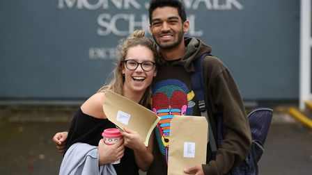 Monk's Walk School students Valentina Adolph and Hemang Ramlaul pick up their A level results. Pictu