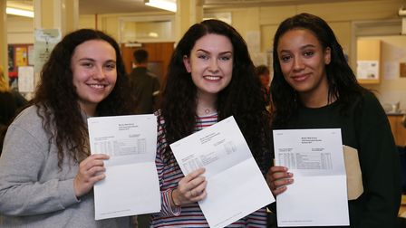 Monk's Walk School students Merridy Woolveridge, Sophie Mills and Amarah Brade pick up their A level