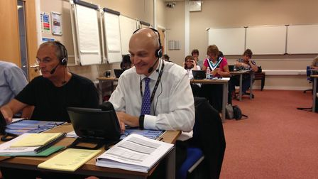 University of Hertfordshire's vice chancellor, professor Quintin McKellar CBE taking clearing calls.