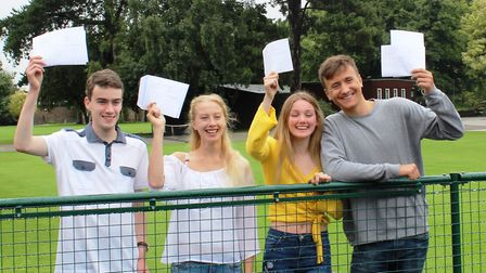 Wisbech Grammar School students celebrating A level result day: (From left)Ben Martin, Maddie Booth,