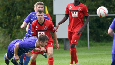 Action from Wisbech St Mary's 3-1 win over AFC Sudbury Reserves. Photo: IAN CARTER