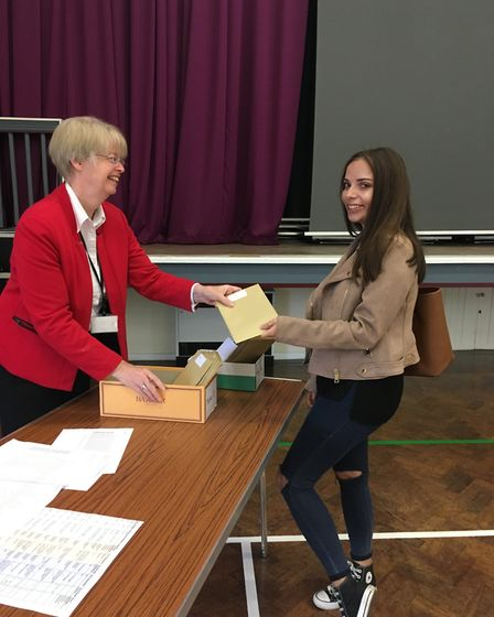A-level results day at Sir Frederic Osborn School in Welwyn Garden City.