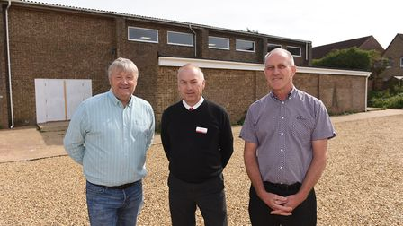 Wisbech St Mary indoor sports facility: left to right Dave Parrin, Paul Albutt, Martin Holmes