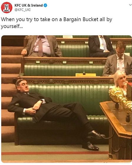 KFC make use of a photograph of Jacob Rees-Mogg as part of many memes about the politician. Photogra