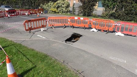 Drain collapse in Weasenham Lane, Wosbech. This was taken on Saturday