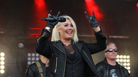 Goatfest 2017 in Codicote - Kim Wilde on stage entertains the crowds.