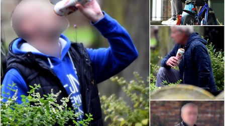 Street drinkers out in Wisbech on Wednesday - part of a problem that a petition with 1,800 signature