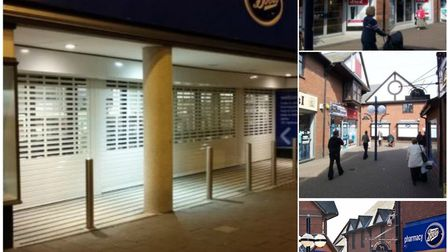 Image provided b y Boots (left) of how shutters would look and (right) images from their store in Ho