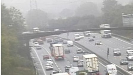 Delays on the M25 this morning. Picture credit Highways England.