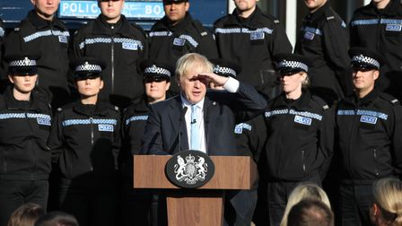 Boris Johnson making a speech during a visit to West Yorkshire