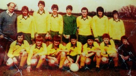 A photo of what is believed to be one of Hungate Rovers' first ever youth team. The club celebrates