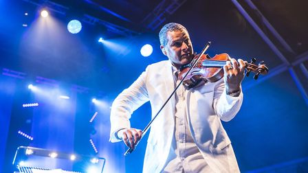 Stephen Hussey of the Urban Soul Orchestra performing at Classic Ibiza 2017 at Knebworth House