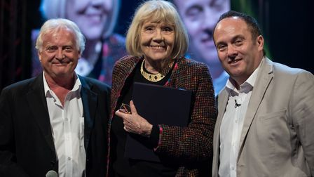 Elstree managing director Roger Morris, Dame Diana Rigg and chairman Morris Bright [Picture: Ila Des