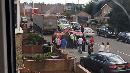 The A1101 Leverington Road, Wisbech, was closed following a collision. Emergency services are on the
