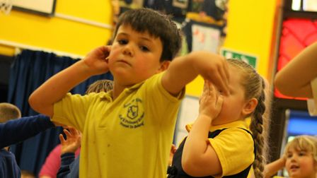 Children at Anthony Curton Primary School in Walpole Saint Peter take part in sports morning. Oscar