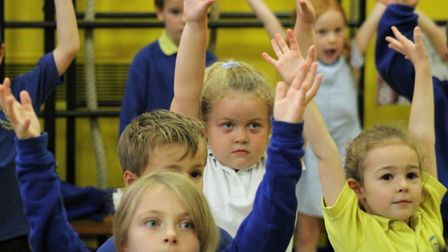 Children at Anthony Curton Primary School in Walpole Saint Peter take part in sports morning.