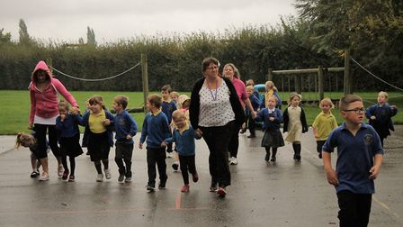 Children at Anthony Curton Primary School in Walpole Saint Peter take part in sports morning. Joggin