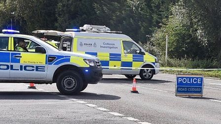 The A47 near Wisbech is closed following a serious collision.