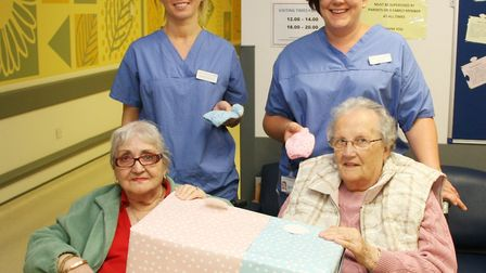 Madaline Medler, 90, and Vera Sooley, 88, both residents at Lyncroft care home in Wisbech, make spec